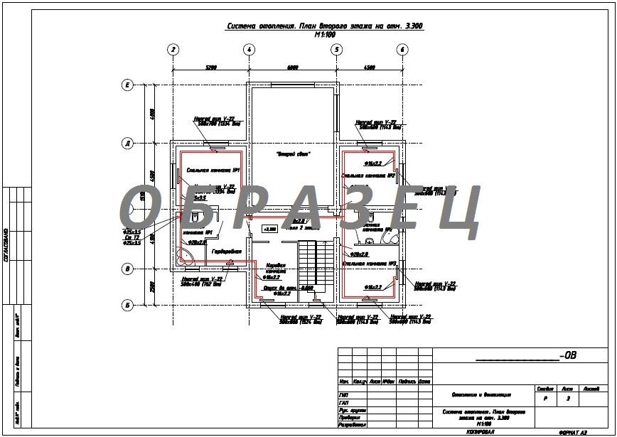 ОВ-3-Система-отопления.-План-второго-этажа