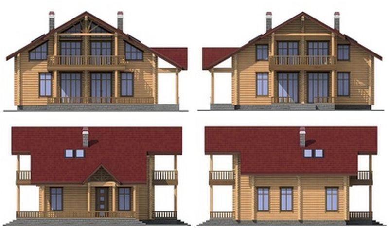 Дом деревянный с мансардой